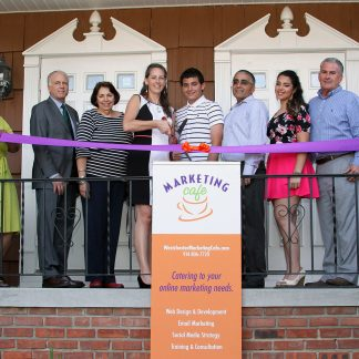 Westchester Marketing Cafe ribbon cutting