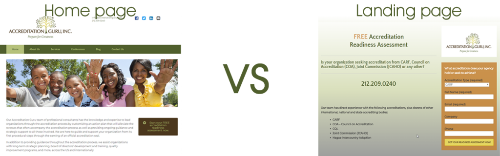 Example 2: home page vs. landing page