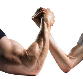 strong man's arm wrestling a thin man's arm