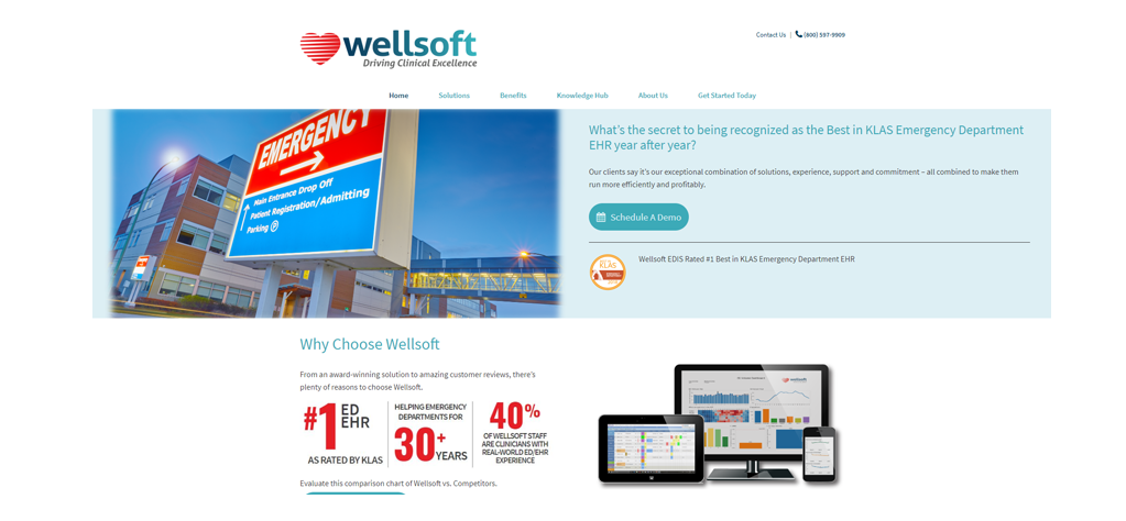 Wellsoft home page screenshot