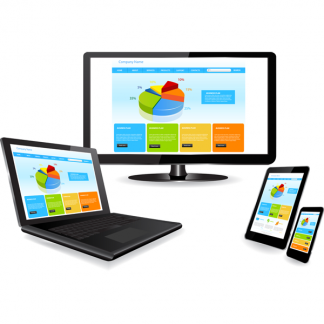 responsive web design: computer, laptop, tablet, phone
