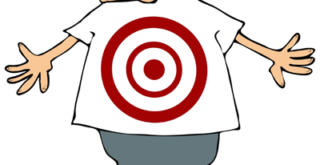 cartoon man with target on belly